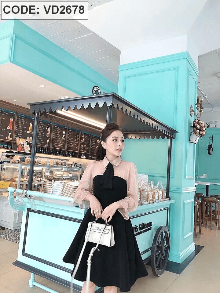 Đầm đen xòe phối voan kèm nơ